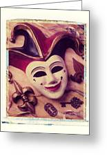 Jester Mask Greeting Card by Garry Gay