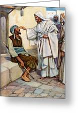 Jesus And The Blind Man Greeting Card by Arthur A Dixon