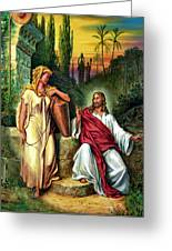 Jesus And The Woman At The Well Greeting Card by John Lautermilch