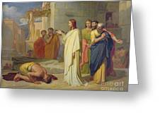 Jesus Healing The Leper Greeting Card by Jean Marie Melchior Doze