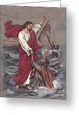 Jesus Saves Peter Greeting Card by Morgan Fitzsimons