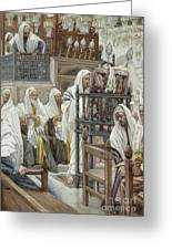 Jesus Unrolls The Book In The Synagogue Greeting Card by Tissot