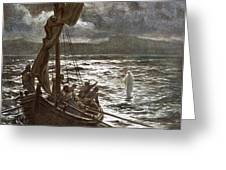 Jesus Walking Upon The Sea Greeting Card by William Brassey Hole