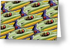 Jet Racer Rush Hour Greeting Card by Ron Magnes