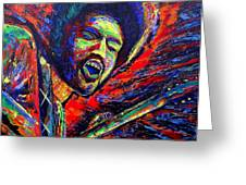 Jimi And The Blue Flames Greeting Card by Jeremy Smith