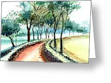 Jogging Track Greeting Card by Anil Nene