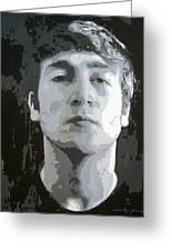 John Lennon - Birth Of The Beatles Greeting Card by David Lloyd Glover