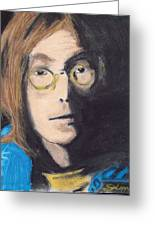 John Lennon Pastel Greeting Card by Jimi Bush