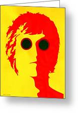 John Lennon Red Greeting Card by Mark Cawood