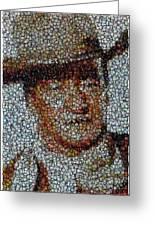 John Wayne Bottle Cap Mosaic Greeting Card by Paul Van Scott