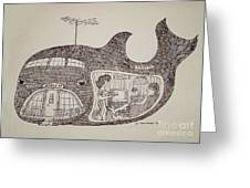 Jonah In His Whale Home. Greeting Card by Fred Jinkins