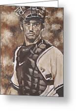 Jorge Posada New York Yankees Greeting Card by Eric Dee