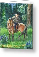 Juel Riding Chiggy-bump Greeting Card by Dawn Senior-Trask