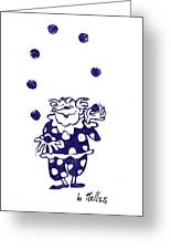 Juggling Clown Greeting Card by Barry Nelles Art