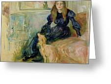 Julie Manet and her Greyhound Laerte Greeting Card by Berthe Morisot