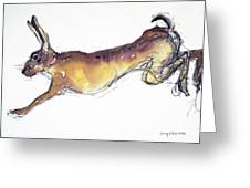 Jumping Hare Greeting Card by Lucy Willis