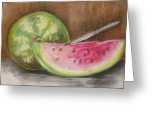 Just Watermelon Greeting Card by Leslie Manley