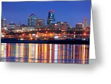 Kansas City Missouri Skyline At Night Greeting Card by Jon Holiday