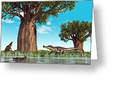 Kaprosuchus Crocodyliforms Greeting Card by Walter Myers