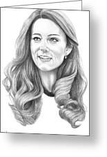 Kate Middleton Catherine Duchess Of Cambridge Greeting Card by Murphy Elliott