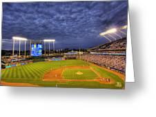 Kauffman Stadium Twilight Greeting Card by Shawn Everhart