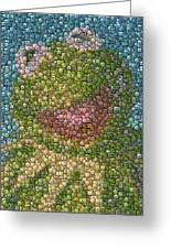 Kermit Mt. Dew Bottle Cap Mosaic Greeting Card by Paul Van Scott