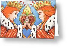 King and Queen of Hearts Greeting Card by Amy S Turner