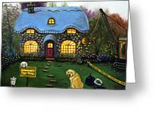 Kinkade's Worst Nightmare 2  Greeting Card by Leah Saulnier The Painting Maniac