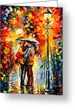 Kiss Under The Rain Greeting Card by Leonid Afremov