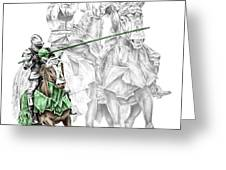 Knight Time - Renaissance Medieval Print color tinted Greeting Card by Kelli Swan