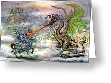 Knights N Dragons Greeting Card by Kevin Middleton