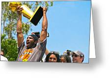 Kobe And The Trophy Greeting Card by Carl Jackson