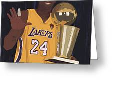 Kobe Bryant Five Championships Greeting Card by Tomas Raul Calvo Sanchez