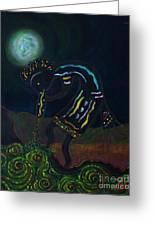 Kokopelli In Moonlight Greeting Card by William Bezik