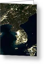 Korean Peninsula Greeting Card by Planet Observer and SPL and Photo Researchers