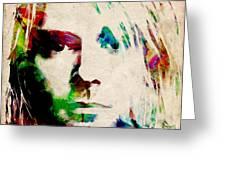 Kurt Cobain Urban Watercolor Greeting Card by Michael Tompsett