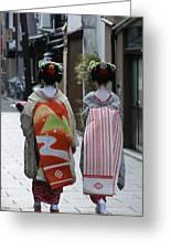 Kyoto Geishas Greeting Card by Jessica Rose