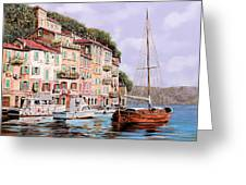La Barca Rossa Alla Calata Greeting Card by Guido Borelli