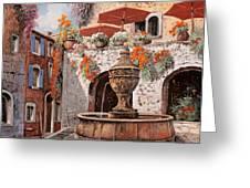 la fontana a St Paul de Vence Greeting Card by Guido Borelli