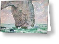 La Manneporte a Etretat Greeting Card by Claude Monet