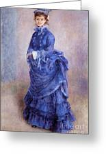 La Parisienne The Blue Lady  Greeting Card by Pierre Auguste Renoir
