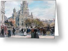 La Place de Trinite Greeting Card by Jean Francois Raffaelli