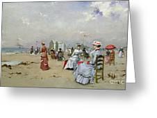 La Plage de Trouville Greeting Card by Paul Rossert