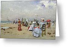 La Plage De Trouville Greeting Card by Paul Rossert