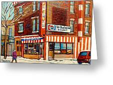 La Quebecoise Restaurant Deli Greeting Card by Carole Spandau