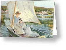 Ladies In A Sailing Boat  Greeting Card by Jules Cayron