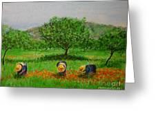 Ladies In Poppy Fields Ibiza Greeting Card by Lizzy Forrester