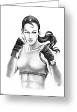 Lady Boxer Greeting Card by Murphy Elliott