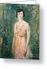 Lady In A Pink Dress Greeting Card by Ambrose McEvoy