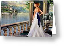 Lady On The Stairs By Lake Como. Greeting Card by Gina Femrite